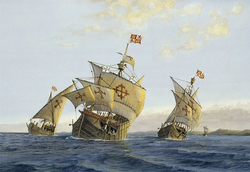christopher columbus 3 ships were the On august 3, 1492, columbus, crew, and three ships, the nina, pinta, and santa maria, left palos, spain, and headed westward land sighted after stopping in the canary islands off the coast of africa, columbus's ships hit the open seas.