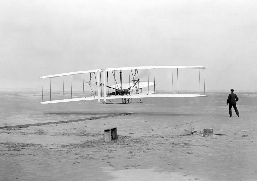 a history of the first successful airplane flight by the wright brothers Telegram, orville wright to bishop milton wright, announcing the first successful powered flight december 17, 1903 december 17, 1903 (wright brothers papers.